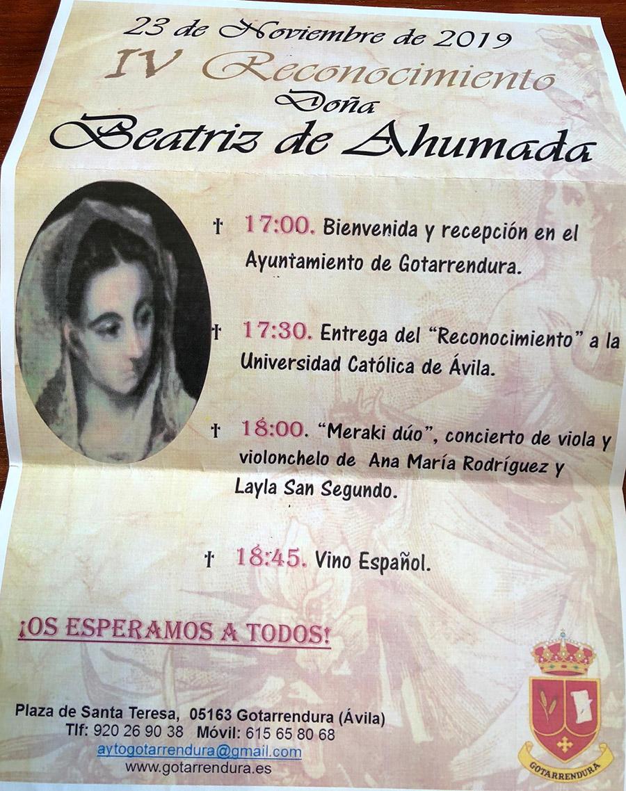 Cartel del Reconocimiento Doña Beatriz de Ahumada