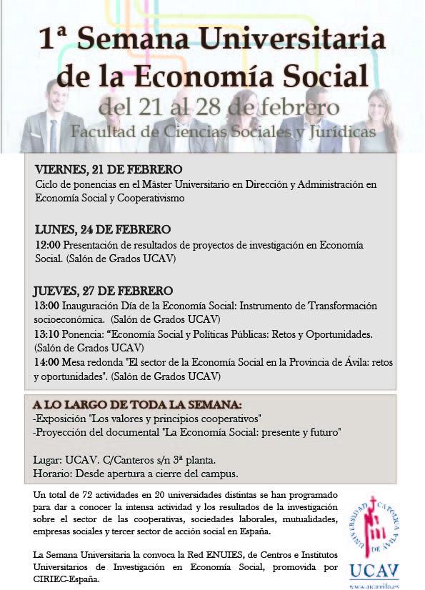 La UCAV participa en la Semana Universitaria de la Economía Social 2020