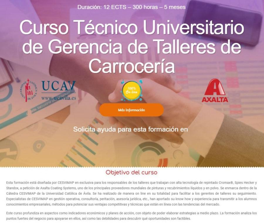 Convocada la V edición del Curso Técnico Universitario de Gerencia de Talleres de Carrocería de Cesvimap