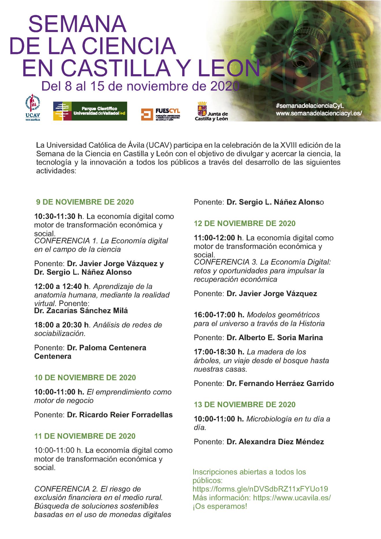 La UCAV participará en la XVIII Semana de la Ciencia en Castilla y León