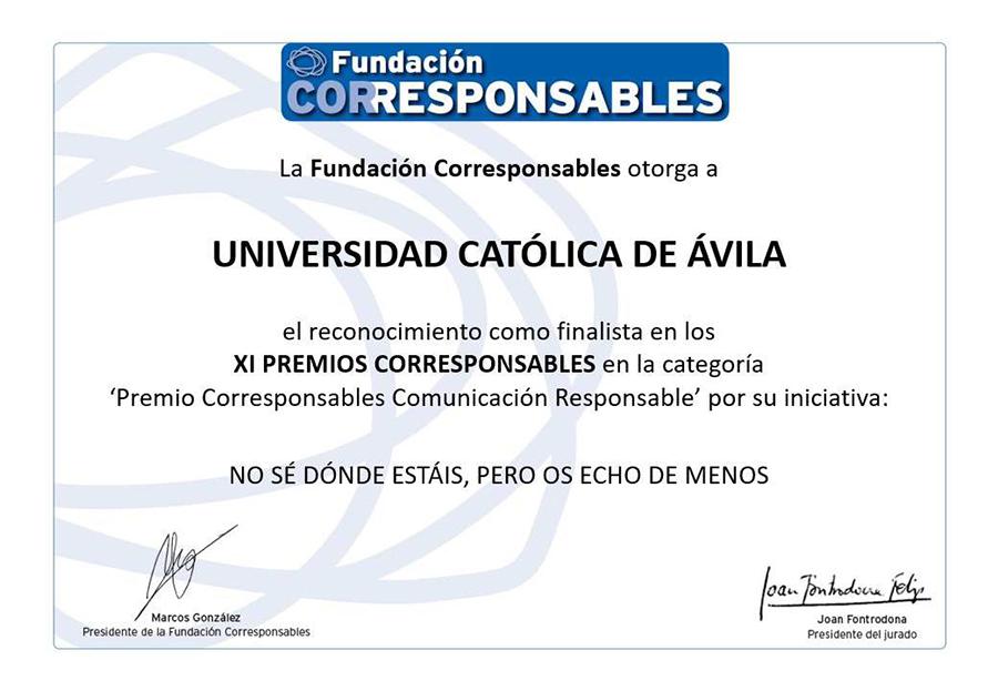 """La UCAV, finalista en los XI Premios Corresponsables Comunicación Responsable con el vídeo  """"No sé dónde estáis, pero os echo de menos"""""""