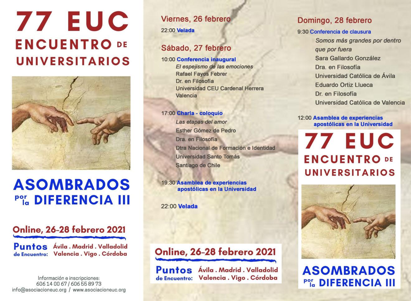 La UCAV y la Asociación EUC celebran el 77º Encuentro de Universitarios del 26 al 28 de febrero en Ávila