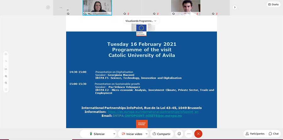 Alumnos de la UCAV realizan una visita virtual a la Comisión Europea