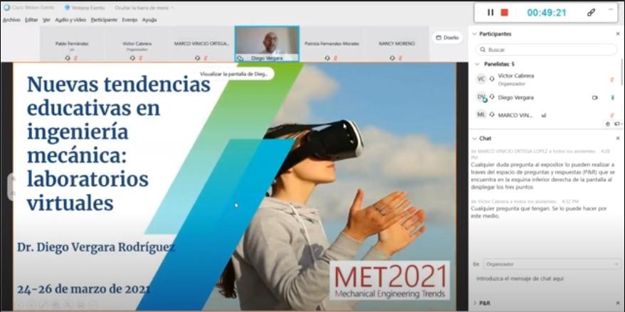 El profesor de la UCAV Dr. Diego Vergara inaugura el congreso internacional Mechanical Engineering Trends MET2021