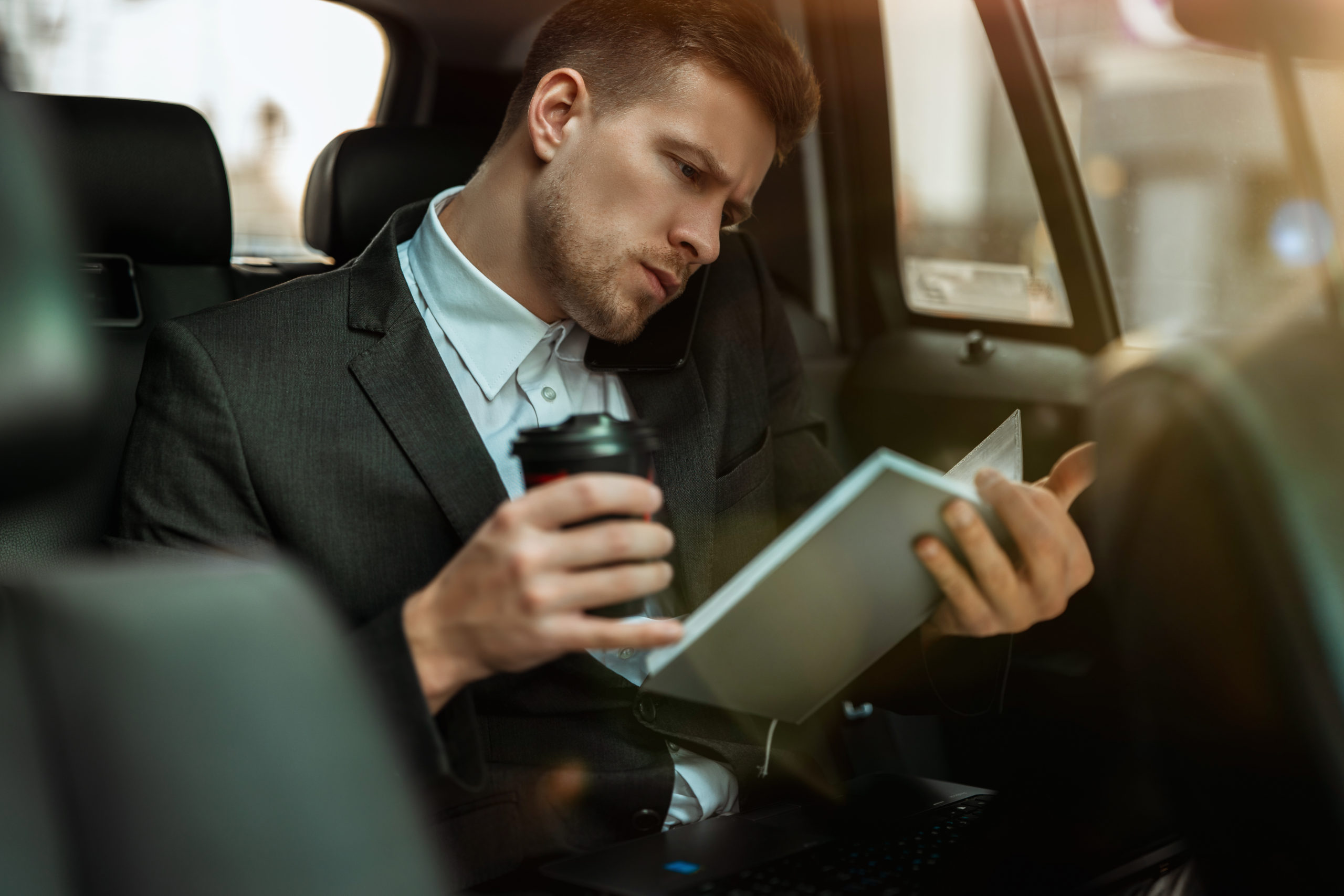 Successful,Businessman,Drinks,Coffee,,Getting,Ready,For,Important,Negotiations,While