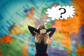 Woman,Thinking,Ahead,Of,The,World,Map
