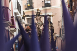 Nazarenos,Carrying,Sculpture,Of,Crucified,Jesus,Christ,During,Easter,Procession